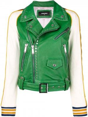 Контрастная кожаная куртка с заклепками Dsquared2. Цвет: зеленый