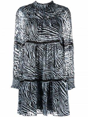 Платье с длинными рукавами и зебровым принтом Michael Kors. Цвет: синий