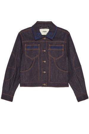 Джинсовая куртка с вышивкой Fendi. Цвет: синий