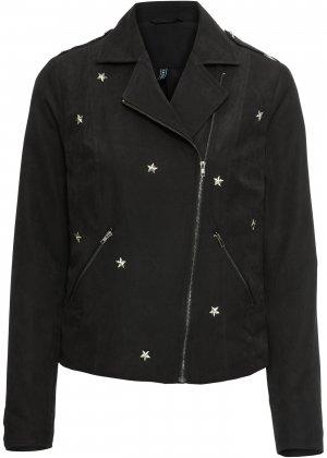 Куртка байкерская со звездами bonprix. Цвет: черный