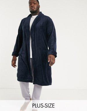 Темно-синий флисовый халат Plus French Connection