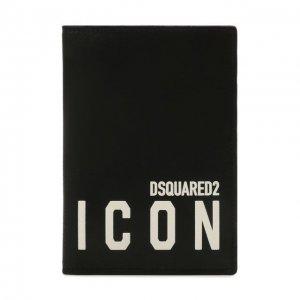 Кожаная обложка для паспорта Dsquared2. Цвет: чёрный