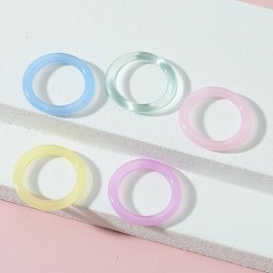 5штОднотонное кольцо для девочек SHEIN. Цвет: многоцветный