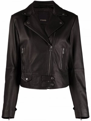 Байкерская куртка с заостренными лацканами Pinko. Цвет: черный