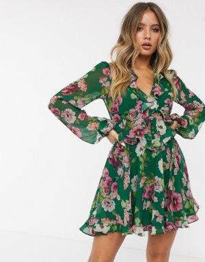 Зеленое платье мини с цветочным принтом -Зеленый Bardot