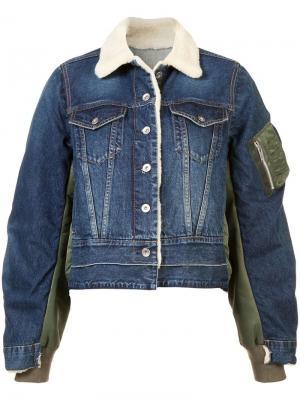 Джинсовая куртка бомбер Sacai. Цвет: синий