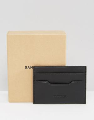 Черный кожаный кошелек для карт Sandqvist. Цвет: черный