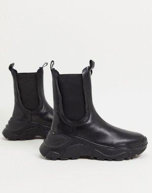Черные кожаные ботинки челси -Черный ASOS DESIGN
