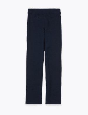 Трикотажные брюки зауженного кроя для девочки Marks & Spencer. Цвет: темно-синий