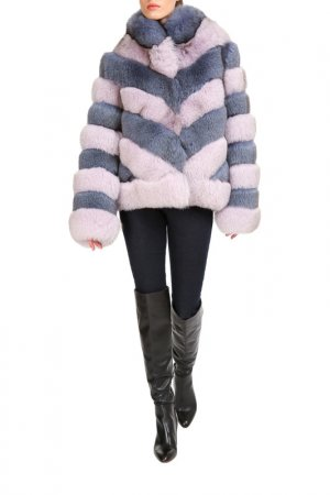 Short fur coat Manakas. Цвет: lilac, blue