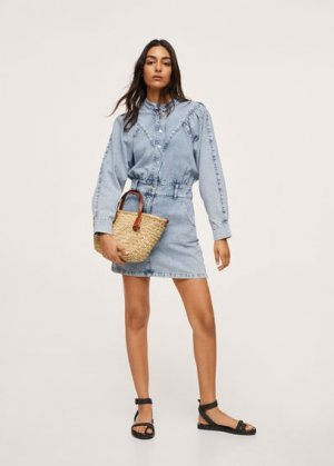 Джинсовое платье с рукавами-фонариками - Lola Mango. Цвет: светло-синий