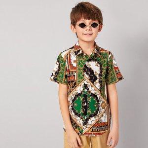 Рубашка с принтом шарфа для мальчиков SHEIN. Цвет: многоцветный
