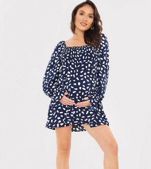 Темно-синее присборенное платье мини с расклешенной юбкой, объемными рукавами и пятнистым принтом x Dani Dyer-Многоцветный In The Style Maternity