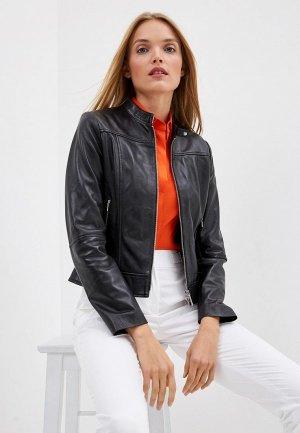 Куртка кожаная Hugo Lorenas. Цвет: черный