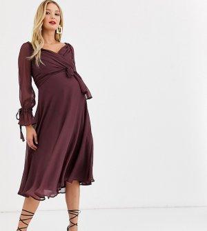 Платье миди с ярусной юбкой, запахом и кружевной отделкой ASOS DESIGN Maternity-Фиолетовый Maternity