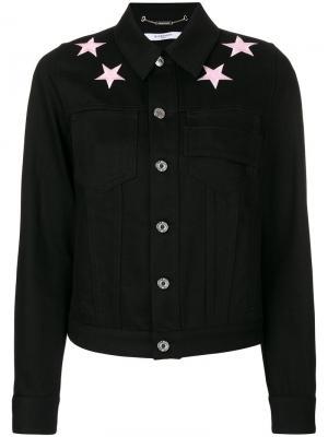 Джинсовая куртка с нашивками-звездами Givenchy. Цвет: чёрный