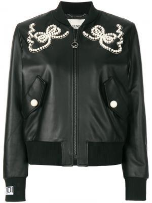 Декорированная куртка-бомбер Fendi. Цвет: чёрный