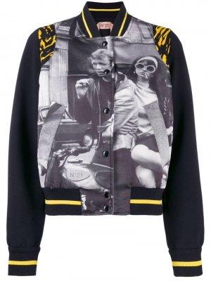Куртка-бомбер с принтом Nº21. Цвет: черный