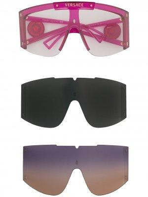 Солнцезащитные очки со сменными линзами и декором Medusa Versace Eyewear. Цвет: розовый