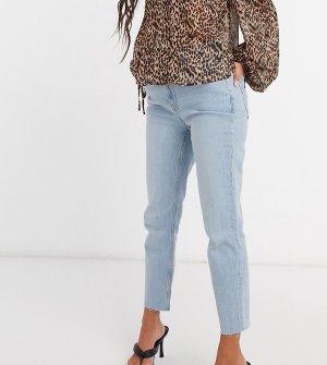 Светлые джинсы в винтажном стиле зауженного кроя с высокой посадкой ASOS DESIGN Petite-Синий Petite