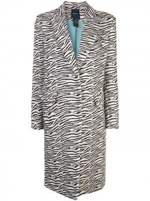 Однобортное пальто с зебровым принтом Smythe. Цвет: белый