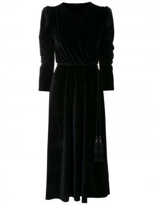 Платье миди с запахом Eva. Цвет: черный
