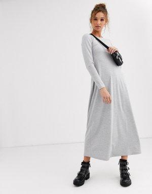 Платье-футболка макси с длинными рукавами -Серый ASOS DESIGN