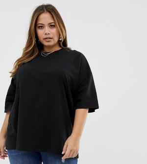 Черная выбеленная oversize-футболка ASOS DESIGN Curve. Цвет: черный