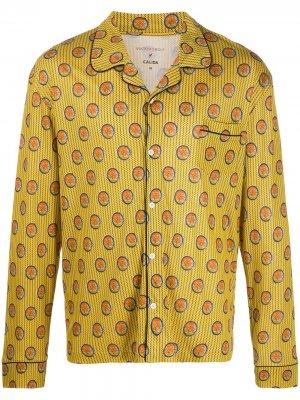 Пижамный топ с геометричным принтом Viktor & Rolf. Цвет: желтый