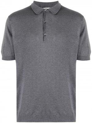 Рубашка поло Adrian в рубчик John Smedley. Цвет: серый