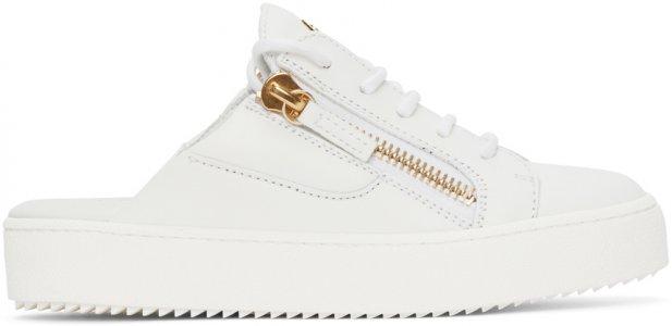 White Slip-On Gail Sneakers Giuseppe Zanotti. Цвет: white