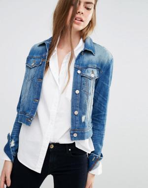 Джинсовая куртка с декоративными прорехами Harlow J Brand. Цвет: синий