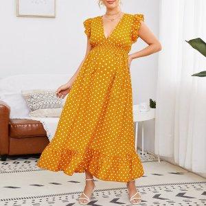 Платье для беременных в горошек с оборками SHEIN. Цвет: горчично-желтый