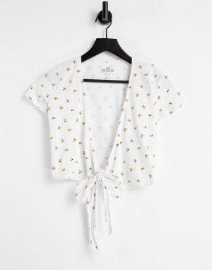 Белая футболка с цветочным принтом, запахом и завязками спереди -Белый Hollister