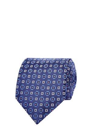 Галстук из цельного отреза шелка с флористическим принтом CANALI. Цвет: синий