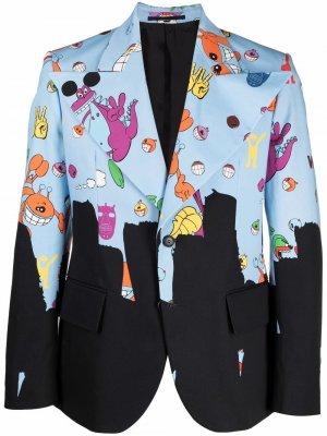 Пиджак с графичным принтом Walter Van Beirendonck. Цвет: синий