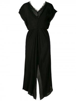 Платье миди с глубоким вырезом Eva. Цвет: черный