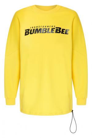 Желтый свитшот оверсайз с надписью Bumblebee x Chapurin. Цвет: желтый