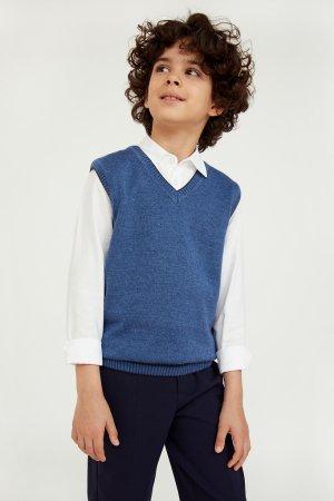 Жилет для мальчика Finn-Flare. Цвет: серо-голубой