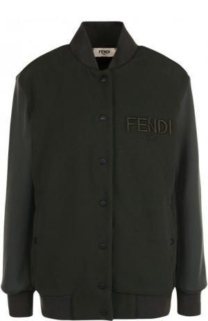 Однотонный хлопковый бомбер с логотипом бренда Fendi. Цвет: темно-зеленый