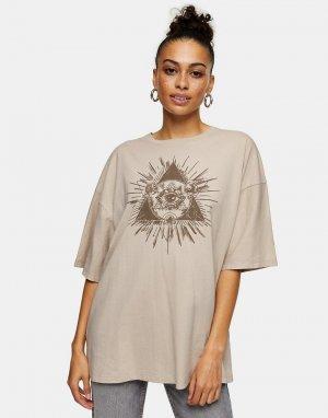 Кремовая футболка с мистическим принтом «третий глаз» -Коричневый цвет Topshop