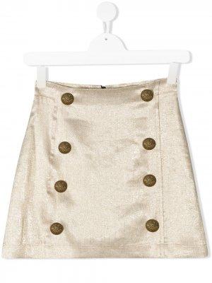 Мини-юбка с декоративными пуговицами Balmain Kids. Цвет: золотистый