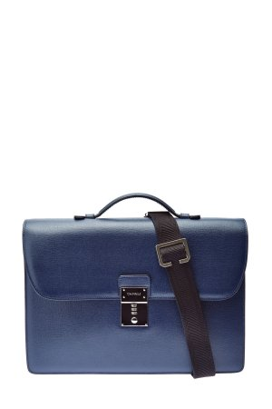 Портфель из кожи с кодовым замком CANALI. Цвет: синий