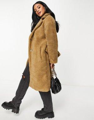 Коричневое плюшевое пальто с большим воротником Na-kd-Коричневый цвет NA-KD