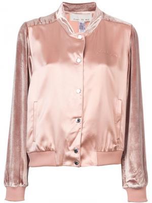 Атласная куртка-бомбер с бархатной отделкой Fleur Du Mal. Цвет: розовый
