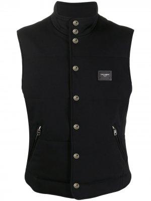 Жилет с высоким воротником и логотипом Dolce & Gabbana. Цвет: черный