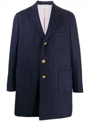 Однобортный пиджак оверсайз Thom Browne. Цвет: синий
