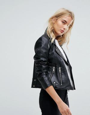 Кожаная байкерская куртка Vero Moda. Цвет: черный