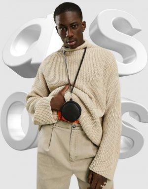 Черный кожаный кошелек круглой формы с зернистой поверхностью и шнурком для шеи -Черный цвет ASOS DESIGN