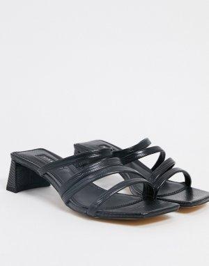 Черные мюли на каблуке с ремешками -Черный Topshop